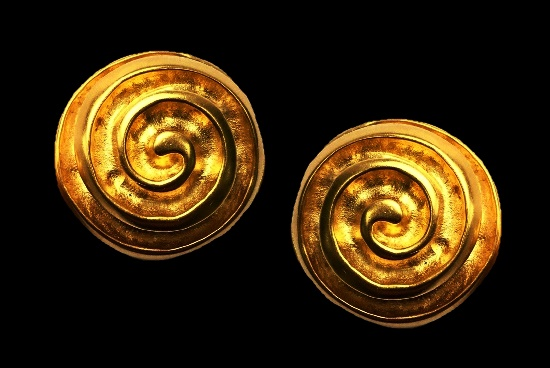 Swirl design gold tone clip on earrings