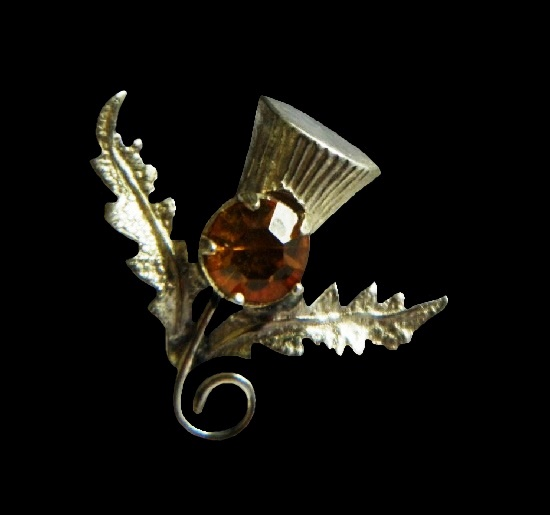 Symbolic thistle flower brooch. Sterling silver, citrine