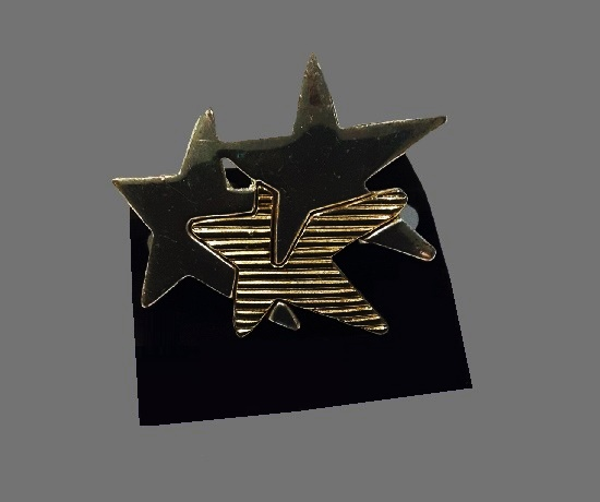 Three Star Brooch Pin, silver tone