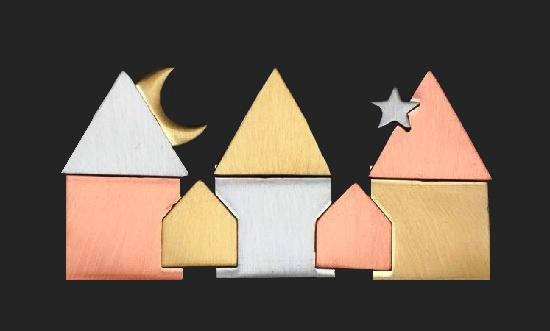 Three houses night pin. Mixed metals. 1980s