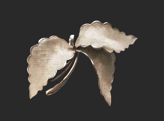 Three leaves brooch. Sterling silver. 6 cm. 1060s