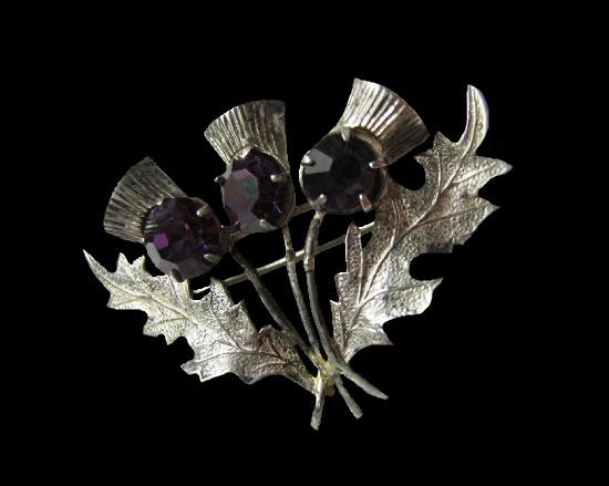 Three thistle brooch. Sterling silver, amethyst glass