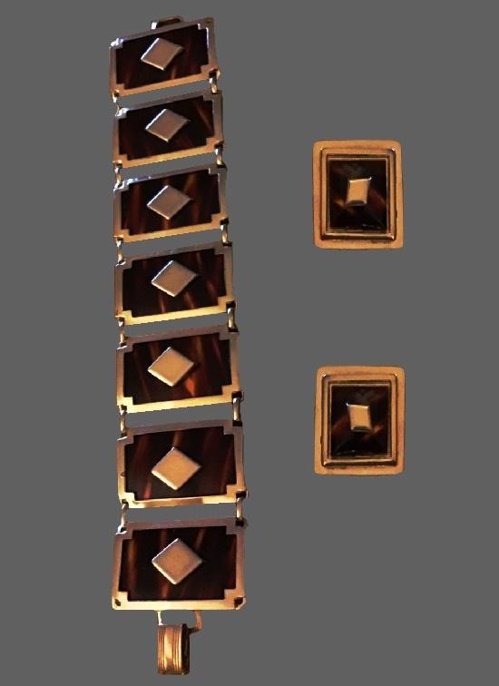 Tortoise shell lucite panel bracelet and earrings