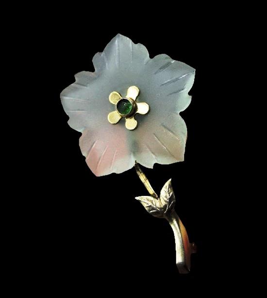 Transparent flower brooch. Gold plated, art glass. 5 cm. Before 1952, Leningrad