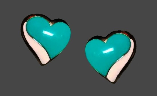 Turquoise and white enamel heart shaped gold tone clip on earrings. 1980s