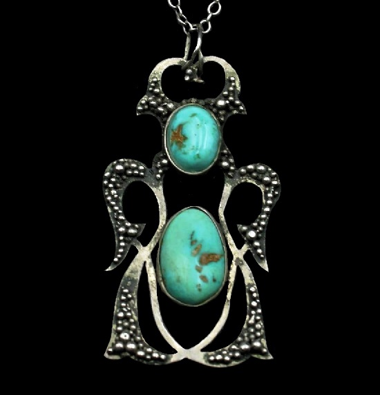 Turquoise pendant in silver. 1960s