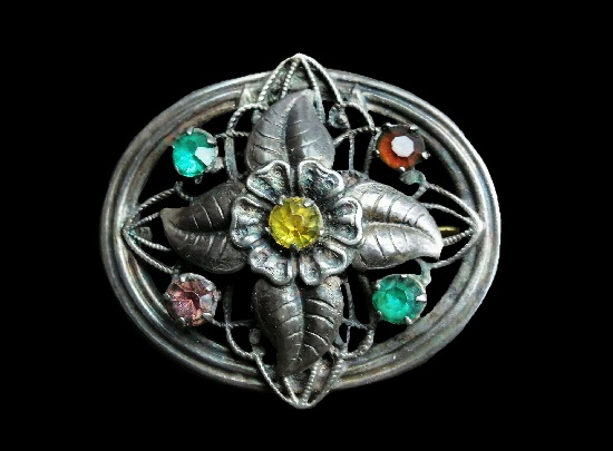 Victorian design sterling silver multicolor crystals brooch. Early 1900s