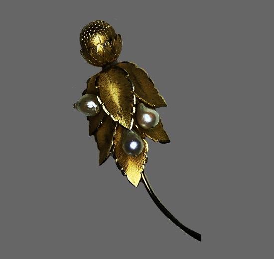 Vintage 12 K gold filled pearl flower design brooch