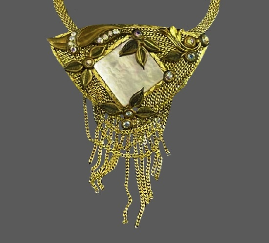 Vintage Mother-of-pearl gold plated, glass, crystals pendant necklace. 1990s