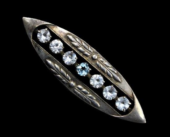 Vintage brooch 875 silver, synthetic corundum, rock crystal, chrysolites. 5 cm. Sverdlovsk Jewelry Factory, 1969