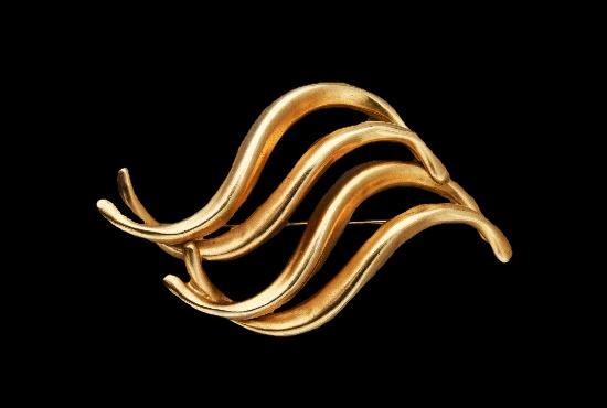 Waves gold plated brooch pin