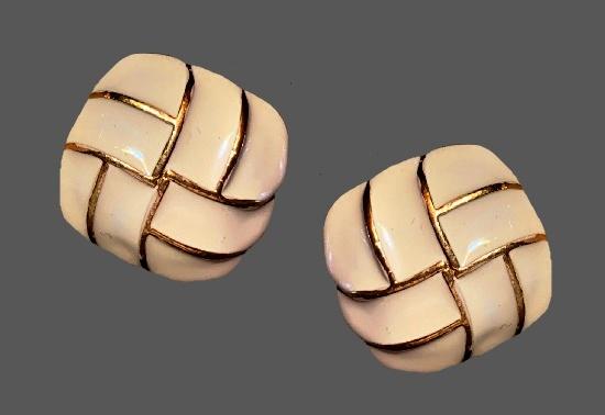 White enamel gold stripe clip on earrings