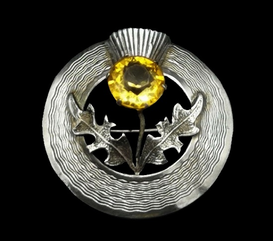 Yellow glass cabochon sterling silver thistle circle brooch