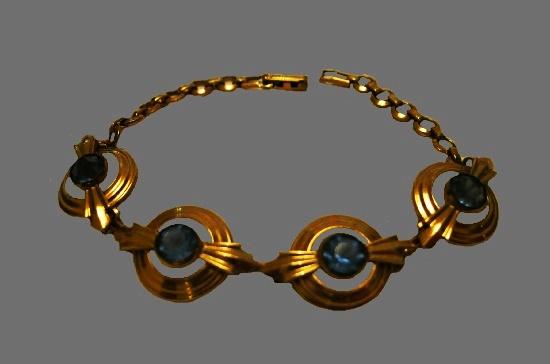 Yellow gold aqua stones bracelet. 1940s