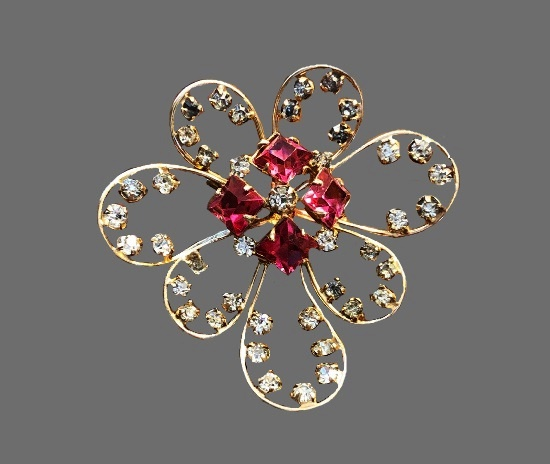 12 K gold filled pink and clear rhinestones flower brooch pendant