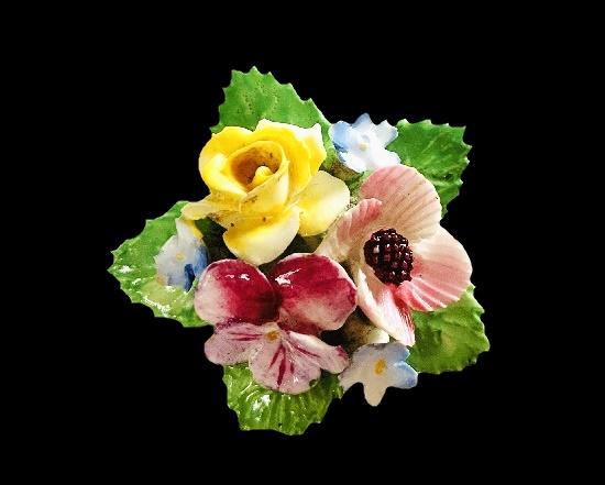 1940s porcelain flower brooch