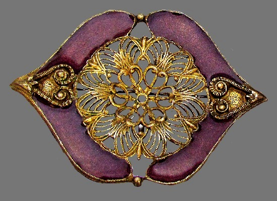 1960s brooch. Jewelry alloy of antique gold tone, enamel