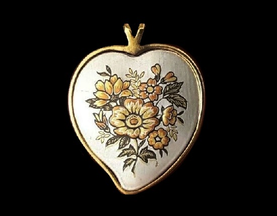 24 K gold electroplated silver, burnished copper, bronze heart design Damascene collection pendant
