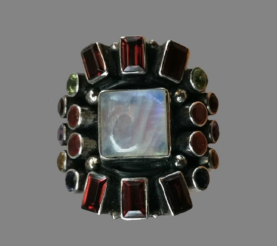 925 sterling silver black glass, citrine amethyst ring from the limited Raj Collection. 1990s