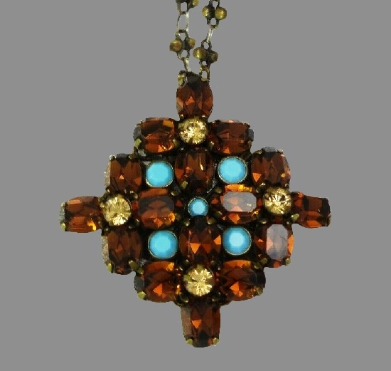 Amber rhinestones, turquoise art glass bronze tone pendant necklace