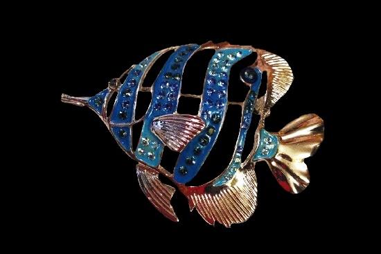 Angelfish brooch. Silver tone metal, enamel, rhinestones