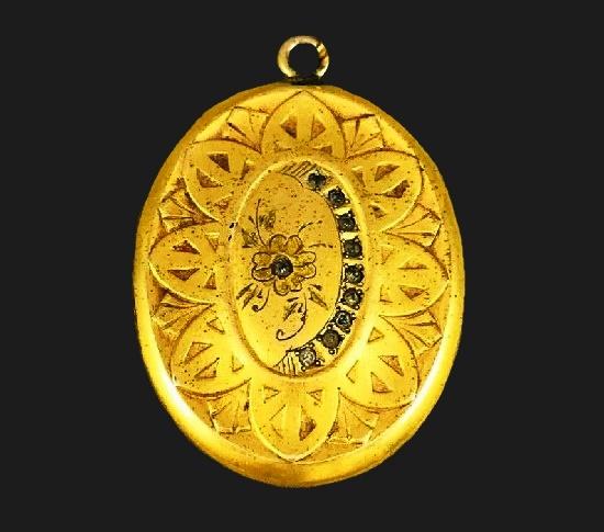 Antique engraved textured gold filled locket