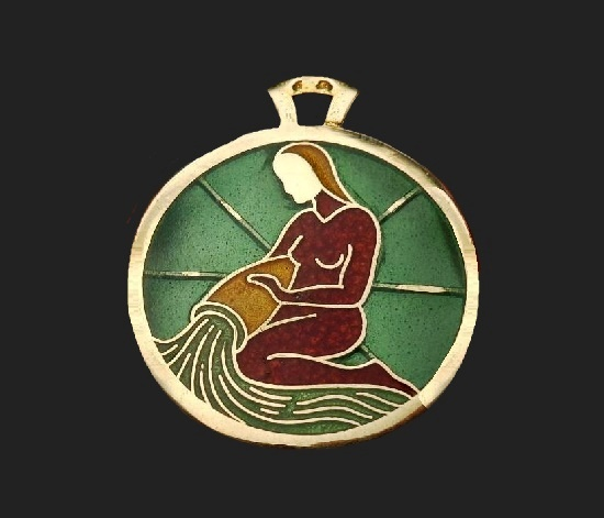 Aquarius Mermaid Zodiac pendant. 18 K gold, enamel