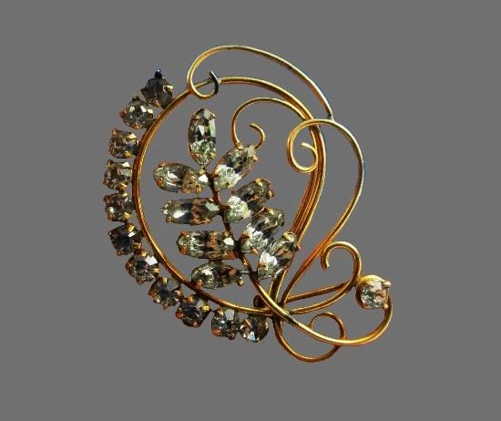 Art Deco floral design 12 K gold filled rhinestones brooch pendant