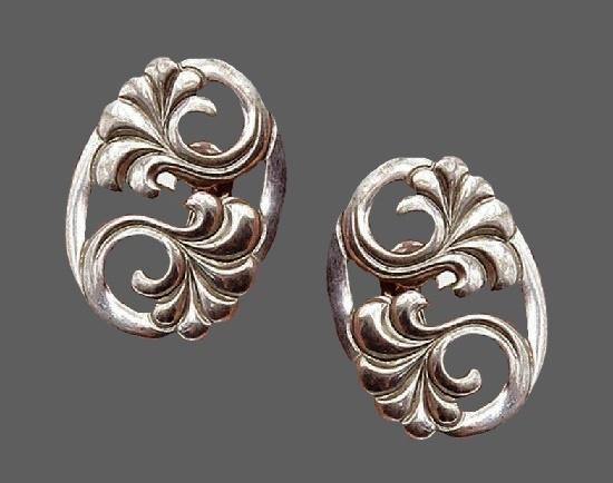 Art Deco sterling silver screw back earrings
