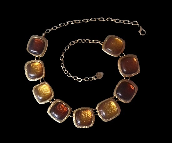 Art glass gold tone necklace. 1990s