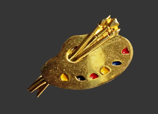 Artist's palette gold plated enamel brooch pin