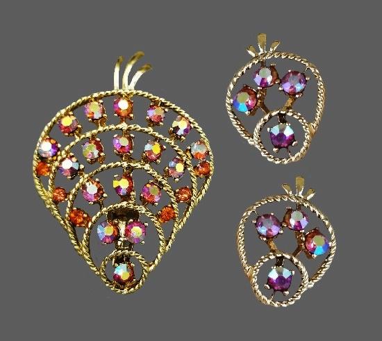 Aurora Borealis rhinestones gold tone brooch and earrings
