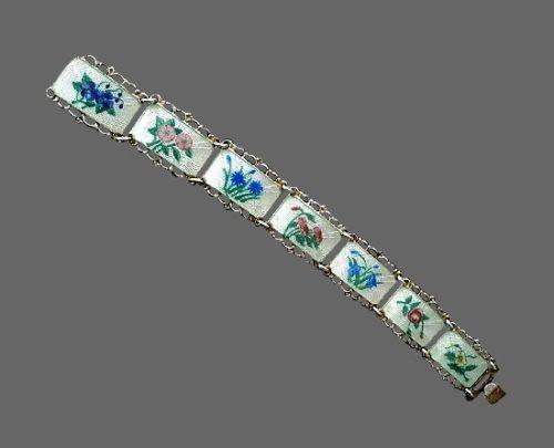 Bell flower wild flowers design bracelet. Sterling silver, guilloche enamel