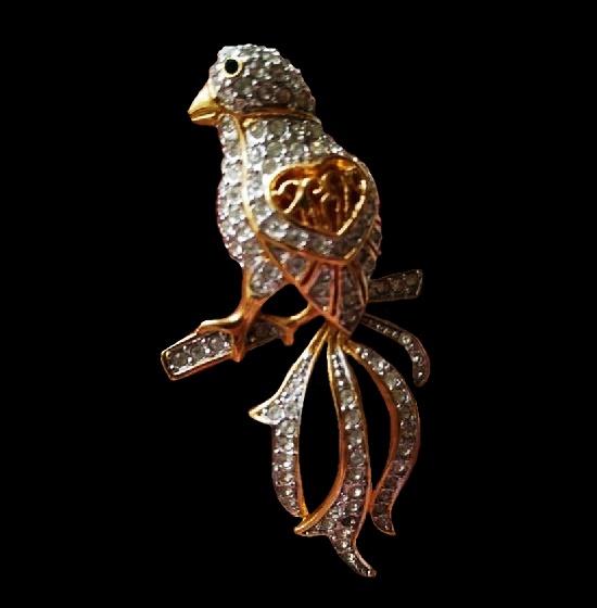 Bird brooch. Gold plated alloy, Swarovski crystals. 6 cm. 1990s