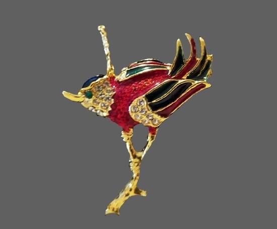 Bird on a branch vintage brooch. Gold tone, rhinestones, enamel