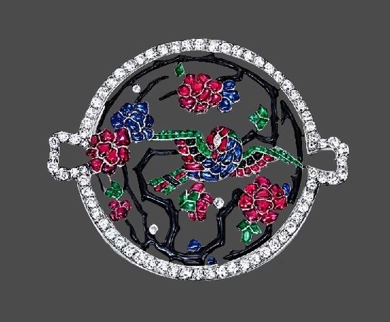 Bird openwork circular brooch. Art Deco. Ruby, sapphire, emerald, onyx, enamel, diamond, platinum. 1930s