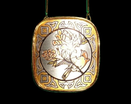 Bird pendant from Damascene collection. Silver, 24 K gold, copper, bronze