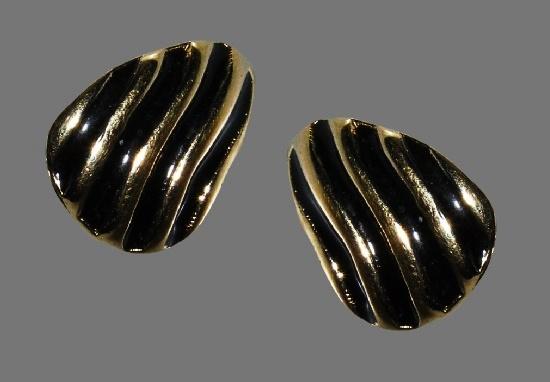 Black Enamel Striped Goldtone Teardrop Post Earrings