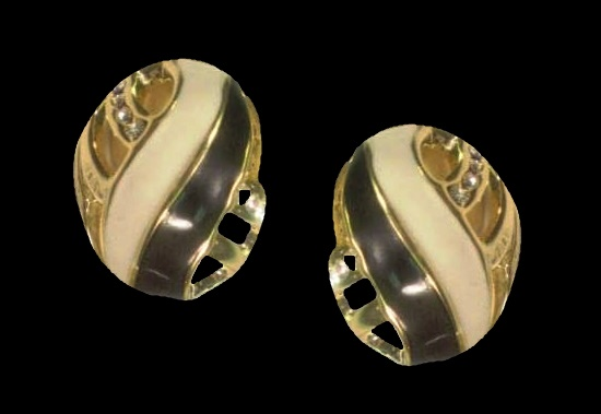 Black and white enamel gold plated crystal earrings