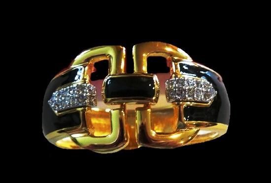 Black enamel gold tone rhinestones bracelet