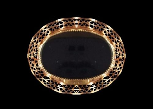 Black onyx 12 K gold filled oval shaped brooch