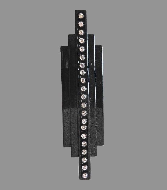 Black plastic rhinestones bar brooch. 10.5 cm