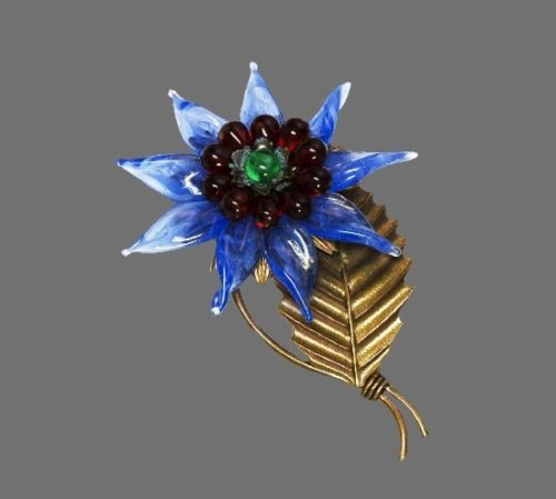 Blue Poured Glass Flower Brooch. 1940s