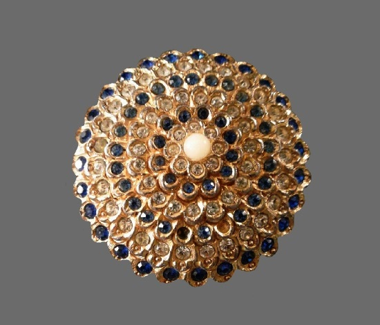 Blue and clear rhinestones faux pearl silver tone brooch