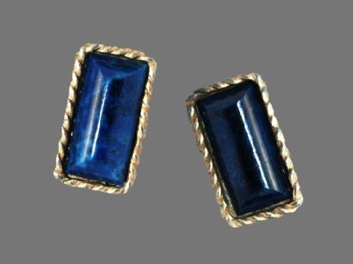 Blue gemstone gold plated cufflinks