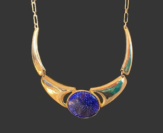 Blue stone gold tone necklace. 1984
