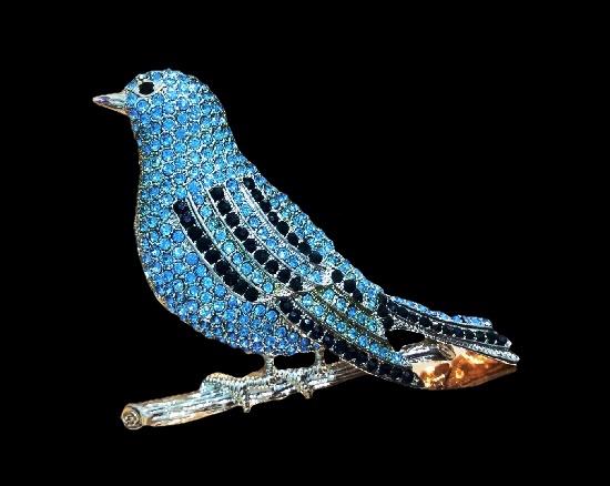 Bluebird brooch pendant, 7.5 cm. Silver tone metal alloy, rhinestones. 2000s