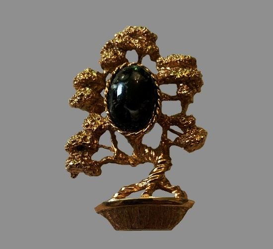 Bonsai Tree With brooch. Opaque marble cabochon, gold tone