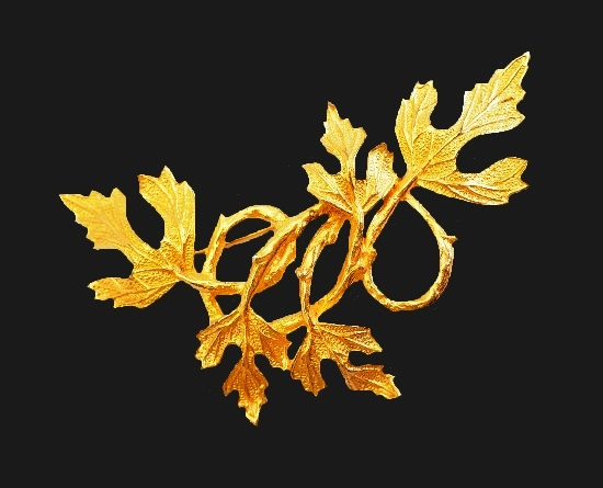 Branch with leaves gold tone textured metal brooch
