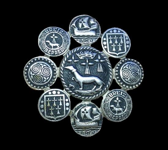 Breiz dachshund ship and spiral design brooch of silver tone